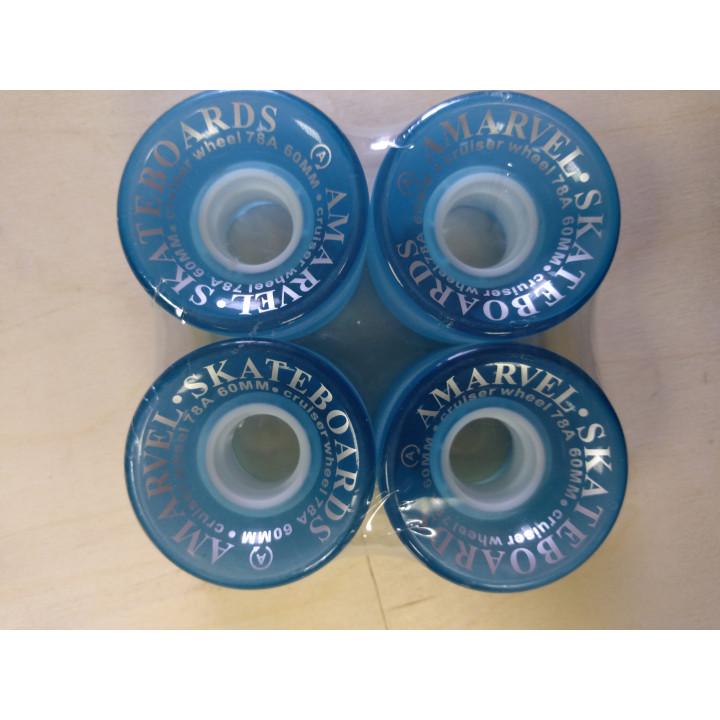 Колеса Amarvel 60 мм 78а голубые полупрозрачные комплект 4 шт.